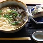 16081930 - 「京ゆばと舞茸のそば+鯖寿司セット」1890円