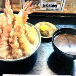 16097033 - 大盛天丼 (赤出汁・漬物付き)見たかこのボリューム(^^;;;