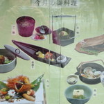 16098333 - お店の前に今月のお料理が写真で説明されています。