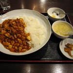 16107751 - 麻婆豆腐定食 500円 スープ・杏仁豆腐付き