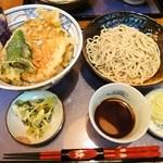 にわ - 野菜天丼+半蕎麦 700円