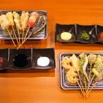 天串にしおか - 料理写真:100円でソースが3つ選べます。色々と食べ合わせてみては(^O^)