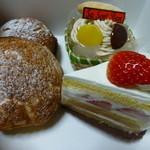菓子工房 ササンボン - 買ってきたシュークリーム@140、イチゴショート@310、抹茶マロン@370