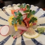 日々茶寮 連 - お造り(鮪・いか・野菜