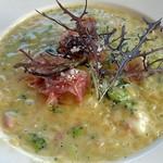 サント ウベルトゥス - リゾーニのローマ風カルボナーラ仕立て 冬野菜添え