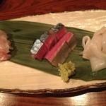 Hakatabiyori - ヒラメ、関サバ、アオリイカの盛合せ