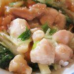 台湾料理 百楽門 - 鶏肉がいっぱいで、汁がご飯に染み込んで・・・うんまい!