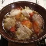 16152650 - 夕食 トマト入り豚肉すき焼き風