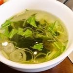 16156338 - もつ煮込み定食「スープ」