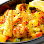 マーブルブランカフェ - 旬がいっぱいの『旬野菜と卵のチキングリーンカレー』