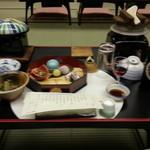 16188367 - 馬篭膳 食前酒 先付け 前菜 代物 蓋物 茸釜飯