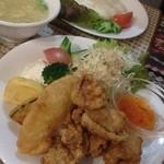 16206845 - 今日のご飯:鶏のから揚げスィートチリソース添え