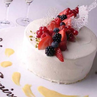 【記念日特典】コースご予約でホールケーキプレゼント