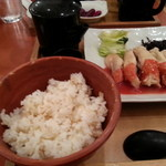 16207913 - 蒸し鶏の梅肉あんと浅漬けとごま昆布茶漬け(瀬戸内)