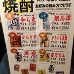 Biyaresutoranginzaraion - 焼酎メニュー