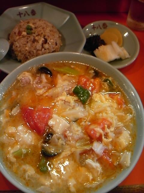 十八番 - 酸辣湯麺+半炒飯