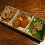なべ駒 - 酒肴3種