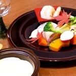 杏 - 海老と季節の蒸し野菜の和風バーニャカウダ