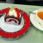 月乃井 - ロールケーキと紅茶