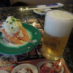 魚屋路 - ビール中瓶525円とオニオンサーモン262円