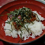 """川崎屋 - """"ビーフンとミニうな丼セット""""(950円→1050円)のうな丼。。本当に小さかった。w"""