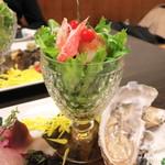 うなぎ屋酒坊・画荘 越後屋 - 前菜 (ズワイとホタテのサラダ) (2012/12)