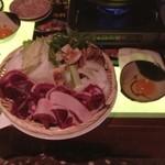 芋んちゅ - 牡丹鍋☆ 臭いと思って食べたことなかったけど、全然臭くなかったです。 ただ、硬い!!さすが獣って思いました。