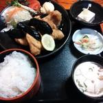 16329720 - なすはさみ揚げ¥600+定食¥250(H24.11.21撮影)