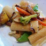 イル・ソーニョ - パスタ:旬野菜のリガトーニ パルメザンチーズのフォンデューダソース・・軽めのオイルソースですがいいお味ですよ。