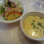 プティプランス - ランチのサラダとスープ