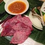 菜な - 黒毛和牛の陶板焼き。