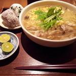 neko - 【再訪】鶏ときのこのすだち餡かけタンメン(840円)おにぎり、ほうじ茶プリン付き。