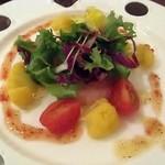 イッケンメ - 料理写真:甘エビのカルパッチョ、カリフラワーサフラン風味