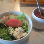 香蘭 - カレーランチのサラダと福神漬