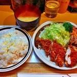 キッチン南海 - チキンカツしょうが焼ライス¥730
