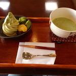 長峰製茶 - わらび餅ソフト 抹茶づくし 抹茶付き