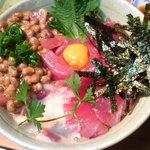 大漁 - マグロ納豆丼。1000円