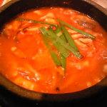 スンドゥブ&石焼ビビンバ Red Pit - きのこズンドゥブのアップ