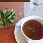 葛城ガーデン - サラダと本日のスープ(この日はミネストローネスープでした)