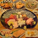 16412214 - Nov-12 刺し盛り・金目煮付け・あん肝・浅利酒蒸し・鯖寿司・杉板つくね・お通し柿