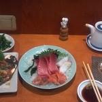 稲茶 - 2012年12月18日 刺身盛りと牡蠣の土手焼き