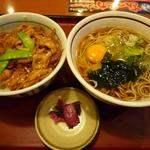 山田うどん - 日替わり(火)「焼肉丼セット」\650円+卵\50円