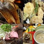 16433336 - 鯖炙り・天ぷら盛り・チャンチャン・バーニャカウダ。