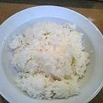 Yamafukuramen - 水っぽい部分や固い部分が混在するご飯。