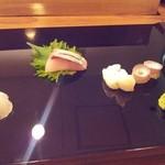 くすの木 - 刺身三種(北海水蛸、勘八、鮃)