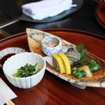 城見櫓 - 2012.11 辛子蓮根、一文字ぐるぐる、つぶ貝、イカとウニの和え物、小松菜のお浸し