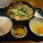 そば元 - 肉鍋定食(ご飯大盛)