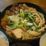 そば元 - 肉鍋アップ