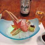 かに道楽 - 造り:すわい蟹氷〆造り