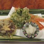 かに道楽 - 揚物:ずわい蟹+しその葉かに味噌包み+椎茸かに身射込み